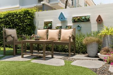 Coin détente réalisé avec une pelouse artificielle